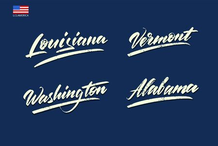 Set of the names of the states of America written with a brush. Vector illustration Banco de Imagens - 150072294