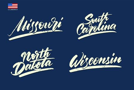 A set of inscriptions. States of America. Vector illustration