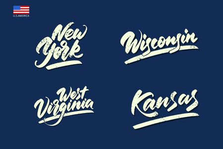 Lettering with a wide brush. Inscriptions of the states of America. Vector illustration