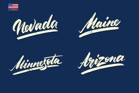 Nevada, Maine, Arizona, Minnesota Vintage sports lettering Vector illustration Banco de Imagens - 150432060