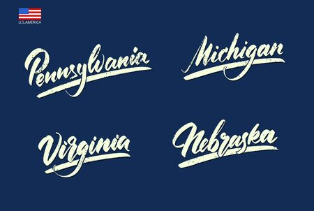 The names of the states of America in handwritten type. Vector illustration