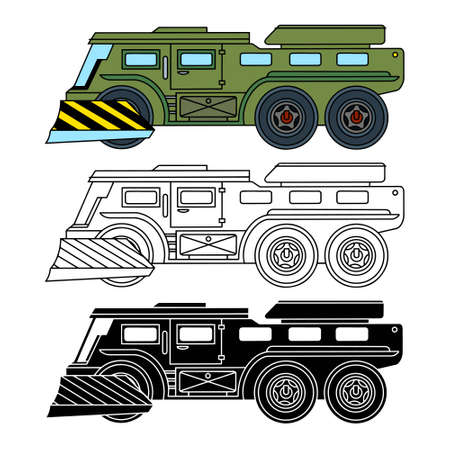 Infantry fighting vehicle, all-terrain vehicle, Linear, color and silhouette icons. Vector illustration