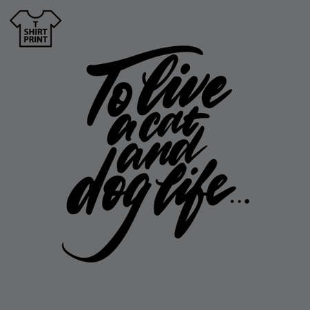 Handwritten lettering. Proverb To live a cat and dog life.. Stock Illustratie