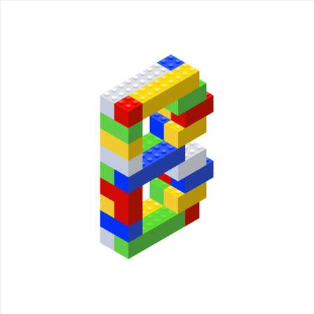 Isometric font made from color plastic blocks. The childrens designer. Letter B.