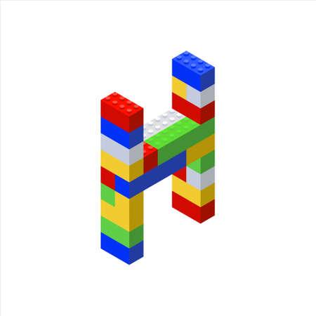 Isometric font made from color plastic blocks. The childrens designer. Letter H. 向量圖像