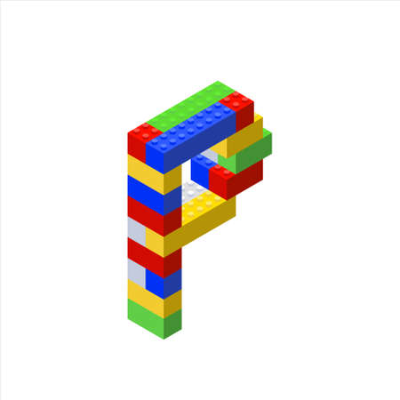 Isometric font made from color plastic blocks. The childrens designer. Letter P.