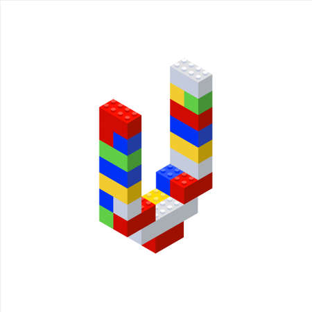 Isometric font made from color plastic blocks. The childrens designer. Letter U.