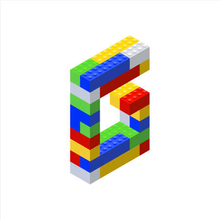 Isometric font made from color plastic blocks. The childrens designer. Letter G.