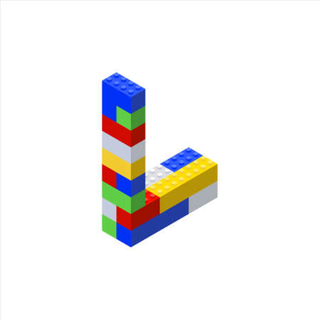 Isometric font made from color plastic blocks. The childrens designer. Letter L.