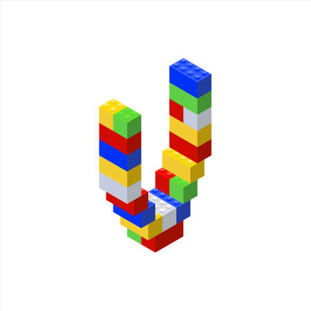 Isometric font made from color plastic blocks. The childrens designer. Letter V. Vettoriali