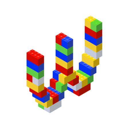 Isometric font made from color plastic blocks. The childrens designer. Letter W.