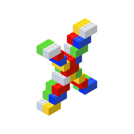 Isometric font made from color plastic blocks. The childrens designer. Letter X.