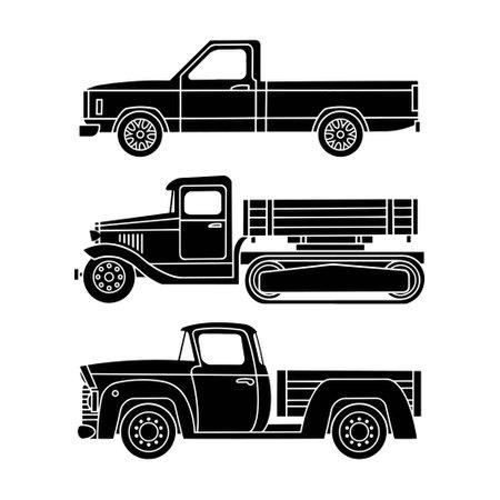 Set of black silhouettes of retro trucks on a white background.