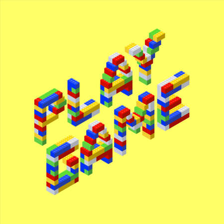 Font made from colored plastic blocks. The inscription Play the game on a yellow background. Vettoriali