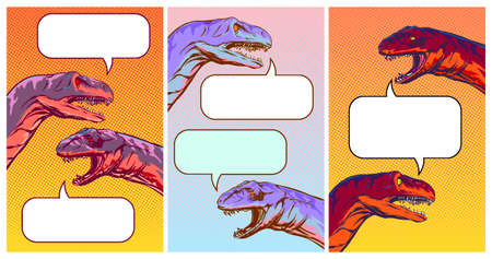 Set of vertical backgrounds with talking dinosaurs in comic style, funny illustration of social media dialogue. lipart Vector