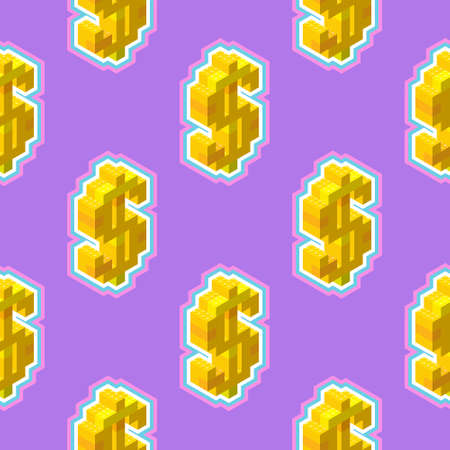Gold dollar sign in isometric, seamless pattern on a purple background. Vector illustration for print or web.