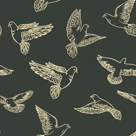 Seamless pattern with painted doves on a dark background. Vector clipart Ilustração