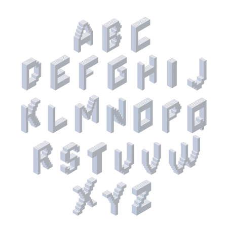 Alphabet set. Isometric 3d font made from plastic blocks. Vector clipart