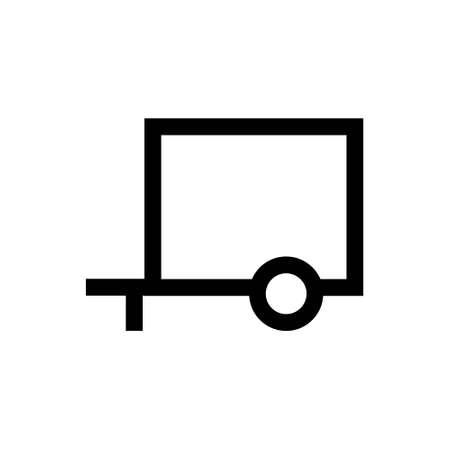 Trailer linear icon. Isolated on white. Vector clipart Ilustração