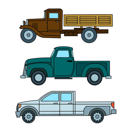 Set of colored vintage toy trucks. Side view. Vector clipart