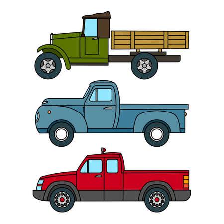 Set of Drawn Cartoon Vintage Trucks. Vector clipart
