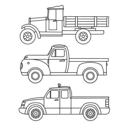Set of linear icons of old trucks for printing. Vector clipart Ilustração