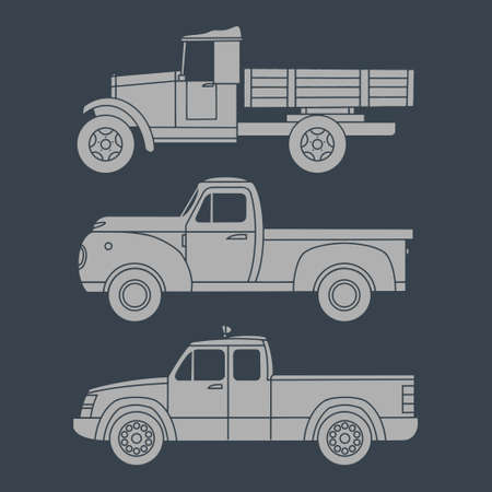 Set of old trucks painted on the side. Vector clipart