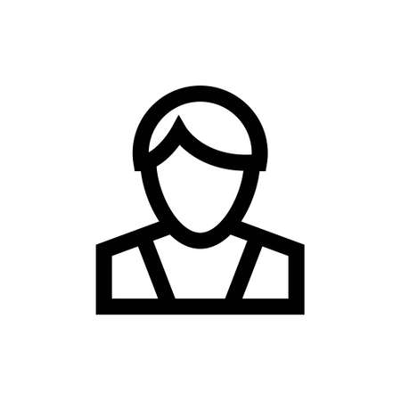 Person outline simple icon. Isolated on white. Vector clipart Ilustração