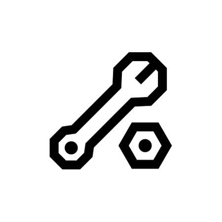 Outline icon. Wrench emblem. Isolated on white. Vector clipart