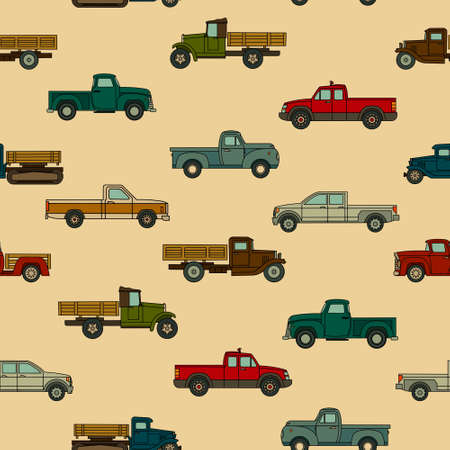 Seamless pattern of various drawn models of American cars for print, textile, web. Vector illustration.