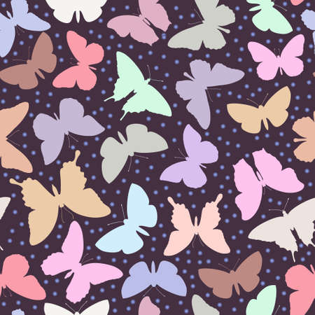Cute pattern with fragile butterflies for printing.Vector illustration.