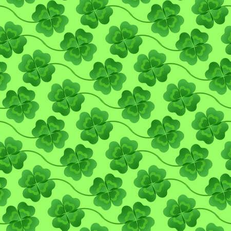 Four-leaf clover arranged in diagonal stripes for decoration for the feast of St. Patrick. Vector illustration. Ilustração