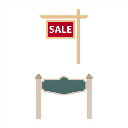 A set of land signs, signboards in the style of a flat with an inscription is for sale. Vector illustration.