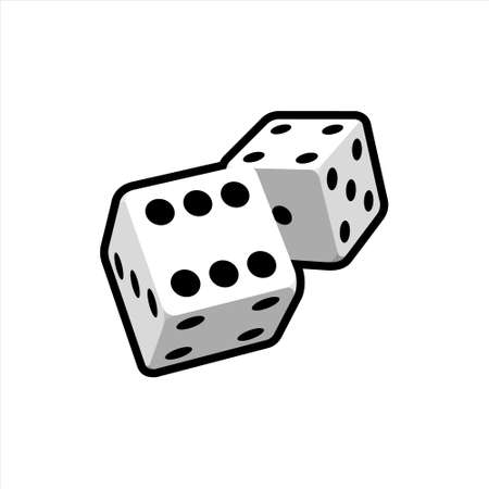 Two falling realistic dice on a white background. Casino design for web applications, infographics, advertising, layout. Vector clipart. Ilustração