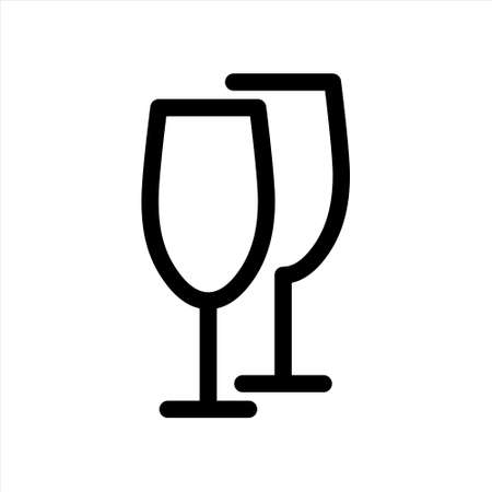 Brittle or packaging glass symbol for print and design. Wine glasses line icon. Vector illustration.