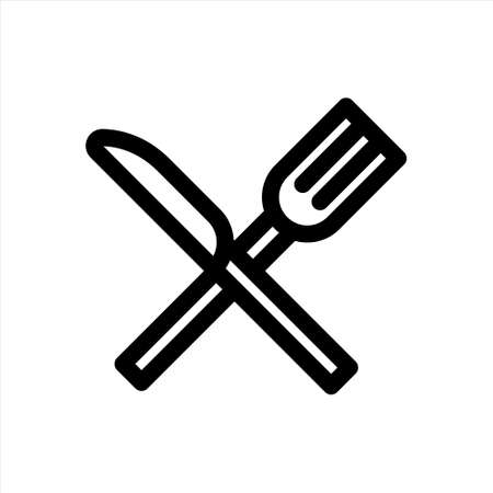 Fork and knife flat icon for internet, applications or design. Vector illustration.