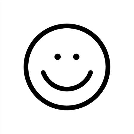 The isolated object on a white background. Smile. Linear Black Outline Sign Mobile Concept Web Design Happy Symbol Vector illustration.