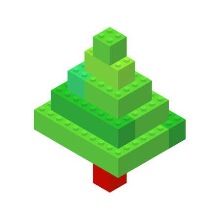 Isometric tree on a white background made of colored plastic blocks. The children s designer. Vector illustration.