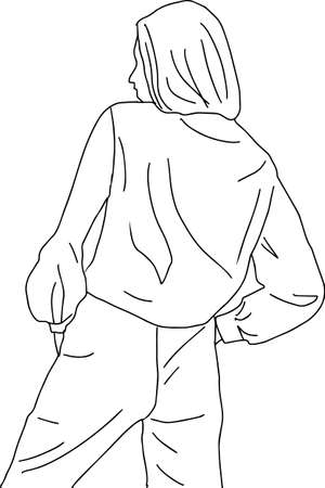 The image of a seated girl with a phone in a linear style. Black and white vector illustration.