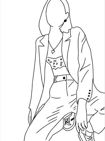 Fashionable stylish girl-model. Linear art. Vector illustration. Ilustração