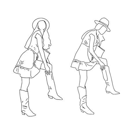 Two modern girls in different poses, standing in a linear stylLinear sketch of a student putting on boots. Vector illustration. Vector clipart. Ilustração