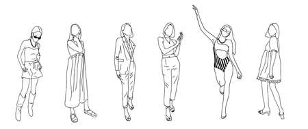 Girls drawn in a linear style for a fashion magazine. Vector clipart. Vettoriali