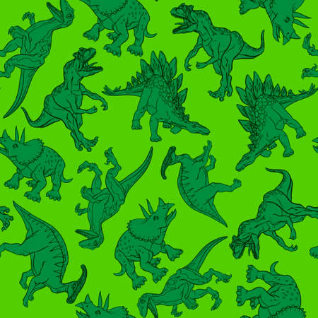 Realistic dinosaur pattern for printing, wrapping paper, packaging. Vector illustration.