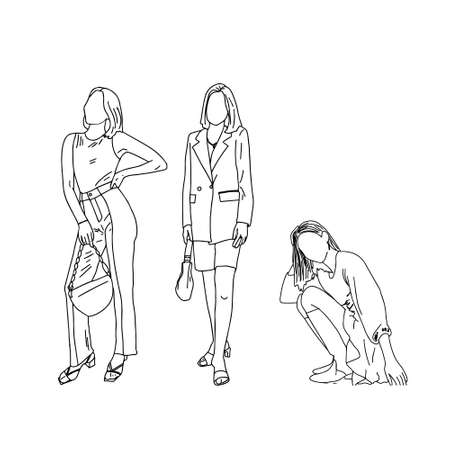group of girls in a linear style for magazine cover design. Vector illustration. Ilustração