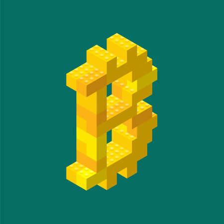 Isometric bitcoin sign assembled from plastic blocks. Vector illustration. Ilustração