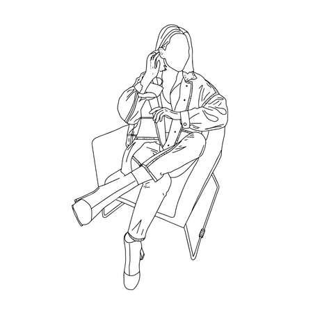 Stylish sitting girl-linear style, isolated on white Vector illustration.