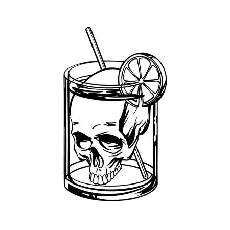 Deadly cocktail with a skull in a glass - linear style. Vector illustration. Ilustração