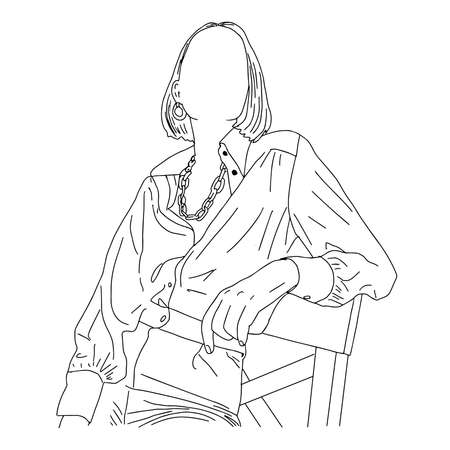 Fashionable girl sitting on a half-figure chair. Linear sketch for presentation in a magazine. Vector illustration.
