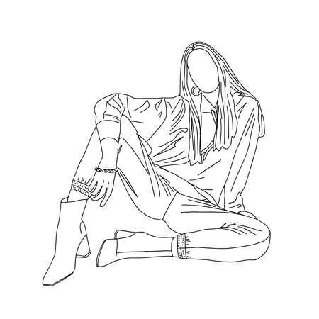 Beautiful sexy girl sitting on the floor. Linear style. Vector illustration. Ilustração