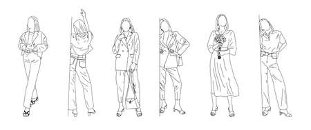 Girls show different styles of clothing - linear style. Vector clipart.